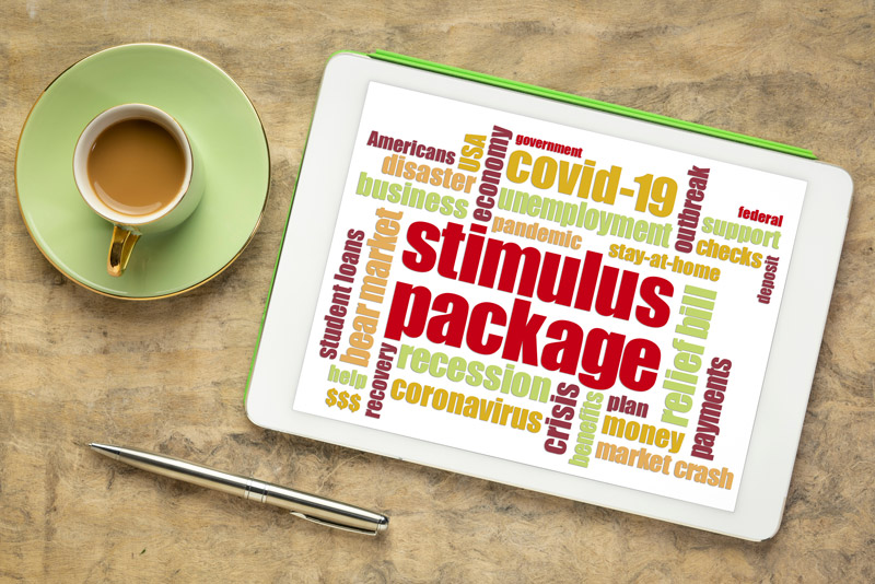 Stimulus package word cloud on a tablet